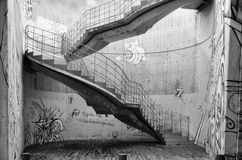 Artistic background with graffitis and stairs Royalty Free Stock Images