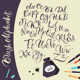 Artistic Background With Ink Pens And Alphabet. Artistic background with jar of ink pens and hand drawn alphabet flat doodle vector Illustration Stock Images
