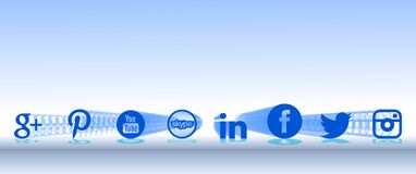 Artistic background with social networks icons Stock Photography