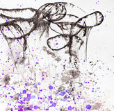 Artistic background with violet splashes. White soft painted background with violet splashes royalty free stock images