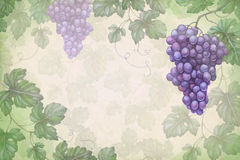 Artistic background with watercolor grapes Royalty Free Stock Photo