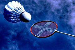 Artistic badminton action royalty free stock photography
