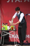 Artistic Bartender show from masters and Champions Ivan and Vitaly. Royalty Free Stock Photography
