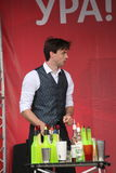 Artistic Bartender show from masters and Champions Ivan and Vitaly. Royalty Free Stock Image