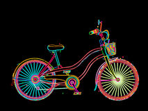 Artistic  bicycle. Retro bicycle in colors, stylized design over black background Royalty Free Stock Image