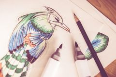 Artistic Birds Drawing Royalty Free Stock Images