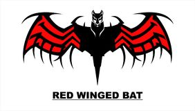 Artistic black Bat with the Red Wing stock illustration