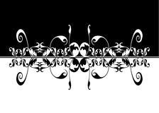 Artistic black white mirror image. Contrasting and elegant black and white mirrored pattern suitable as a background, logo, banner or card Stock Photos