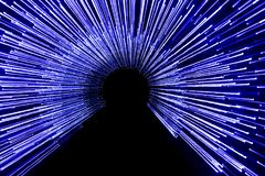 An artistic blue photo of the led lights with a long exposure time. Royalty Free Stock Photos