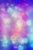 Artistic bokeh lights background with graphic elements. In blue and pink Stock Image