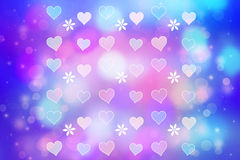 Artistic bokeh lights background with hearts Stock Photos