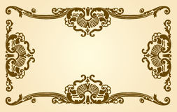 Artistic border. Or frame with decorative designs around a blank center royalty free illustration