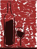 Artistic Bottle and glass of wine Stock Photography