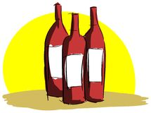 Artistic bottles of wine with sun  Royalty Free Stock Photo