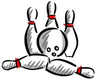 Artistic bowling strike illustration isolated. Composition of element about bowling, usable for all project about this sport, specially if You want to talk about Stock Image