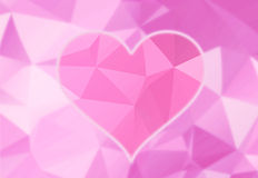 Artistic bright pink heart background. Artistic bright pink color heart love symbol on abstract blurred puprle triangle background illustration Vector Illustration