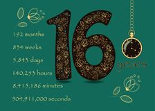 Floral card with Number Sixteen and Pocket Watch Royalty Free Stock Photography