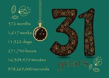 Time counting card. Number 31 and Pocket Watch Royalty Free Stock Photography