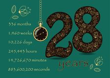 Time counting card. Number 28 and Pocket Watch Royalty Free Stock Photos