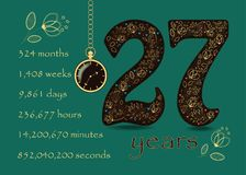 Time counting card. Number 27 and Pocket Watch Stock Photography