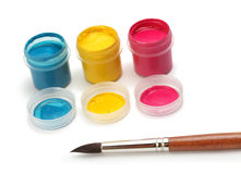 Artistic brush with color can Royalty Free Stock Photography