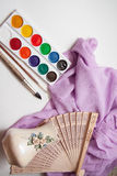Artistic brushes and paints Stock Photos