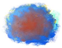 Abstract blue red painting isolated on white background. Artistic brushstroke texture background. Hand painted gouache brushstroke stains Stock Images