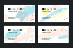 Artistic business card template. Creative brush strokes with pastel colors. Set of layouts. Artistic business card template. Creative brush strokes with pastel Royalty Free Stock Image