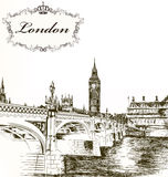 Imitation of retro detailed  hand drawn card with London for des Stock Image