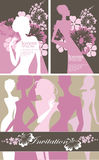 Artistic cards pink color, flowers and silhouette women, design for poster, card, invitation, placard, brochure, flyer, for beauty Stock Images