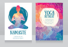 Artistic cards template for yoga retreat or yoga studio Stock Photography