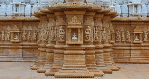 Free Artistic Carving On Red And White Stone, Shankheshwar Parshwanath, Jain Temple, Gujrat, India Stock Photography - 99407462