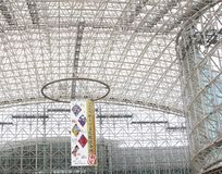 Ceiling walls train station modern glass steel building, Kanazawa, Japan. Artistic ceiling and walls of modern train station building of glass and steel in stock photos