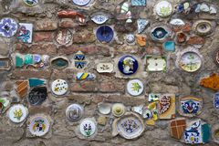 Deruta, perugia, umbria, italy, europe. Artistic ceramics on the wall of the town of deruta, province of perugia, umbria, italy Royalty Free Stock Photos