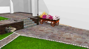 Artistic characteristics of planning an outdoor area, 3d render Stock Images