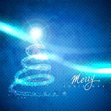 Artistic christmas tree. On blue background Royalty Free Stock Images