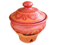 Artistic Clay Curry Pot. Isolated Artistic Curry Pot -clay Stock Images