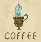 Artistic coffee cup with smoke doodle. Royalty Free Stock Photos