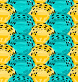 Artistic color brushed blue yellow with black dotted arcs. Hand drawn with ink and marker brush seamless background.Abstract color splush and scribble design royalty free illustration