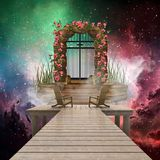 Artistic Colorful 3d Rendering Computer Generated Illustration Of A Heaven Gate That Leads to Another Dimension In A Multicolored stock illustration