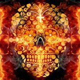 Abstract artistic colorful religious glorifying fiery energetic skull artwork background stock illustration