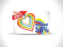 Artistic colorful love discount card. Vector illustration Stock Image