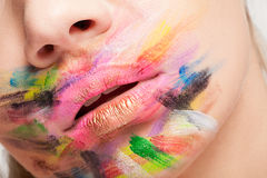Artistic colorful make up on lips Stock Images