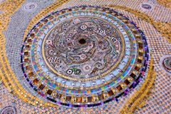 Artistic and colorful Mosaic circles on the floor of Wat Pra That, Pha Sorn Kaew, in Khao Kor, Phetchabun, Thailand. Artistic and colorful Mosaic circles on the stock photo