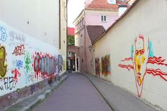 Artistic and colorful murals in the Old town of Vilnius, Lithuania Stock Photos