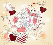 Artistic composition with big flowers and hearts Royalty Free Stock Image