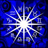 Artistic composition with Zodiac signs. Illustration representing the symbols of the 12 zodiac signs, that can be used in projects about horoscopes Stock Photo