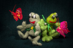 Artistic compositions with knitted animal. S. Frogs royalty free stock image
