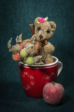 Artistic compositions with knitted animals. Bears knit royalty free stock images