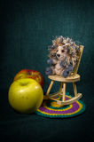 Artistic compositions with knitted animals. Crew cut stock photos